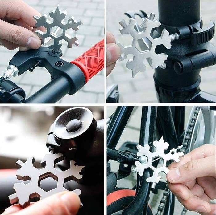A person using the tool to fix various parts of their bike