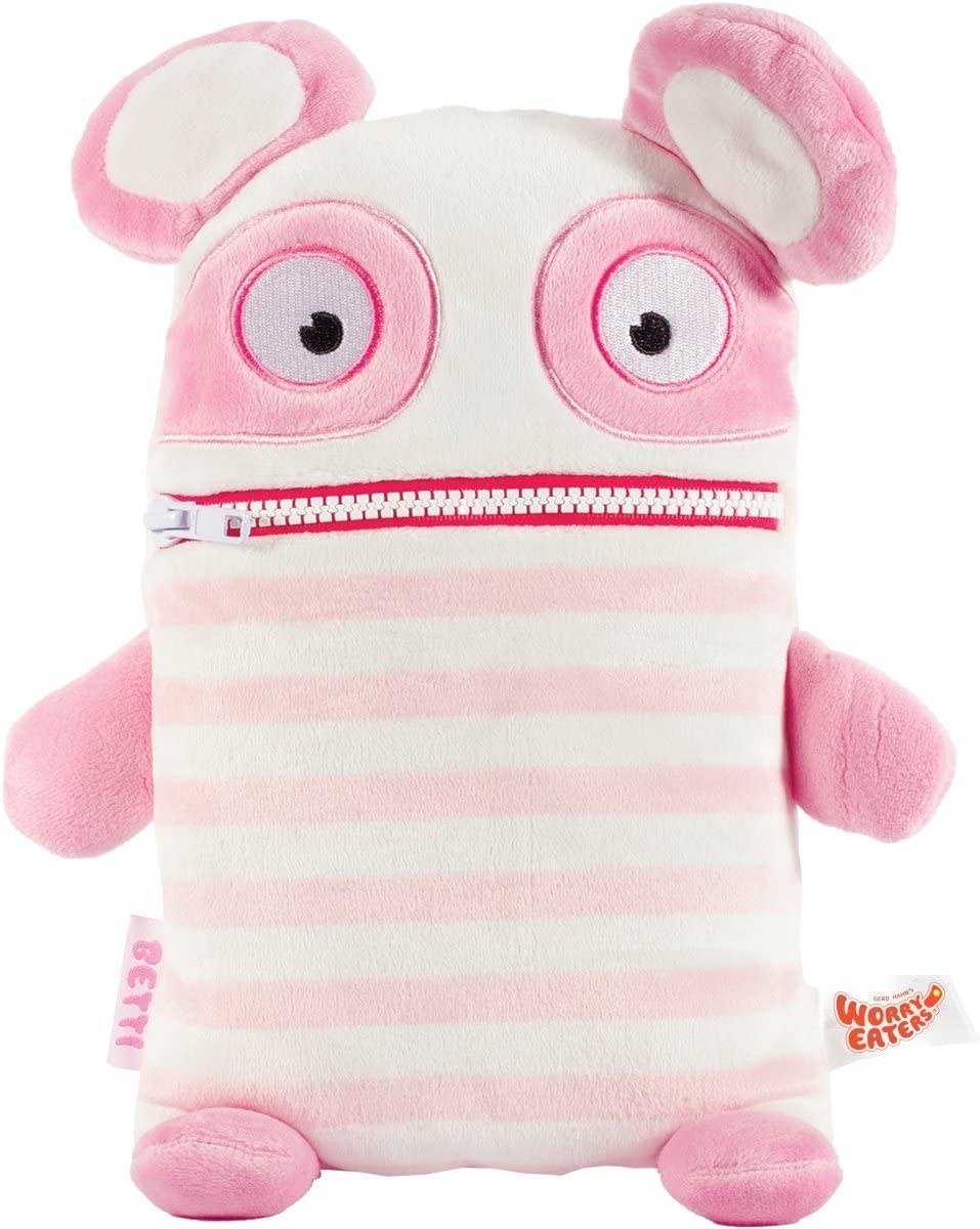 a pink striped cute monster plush with a zipper mouth
