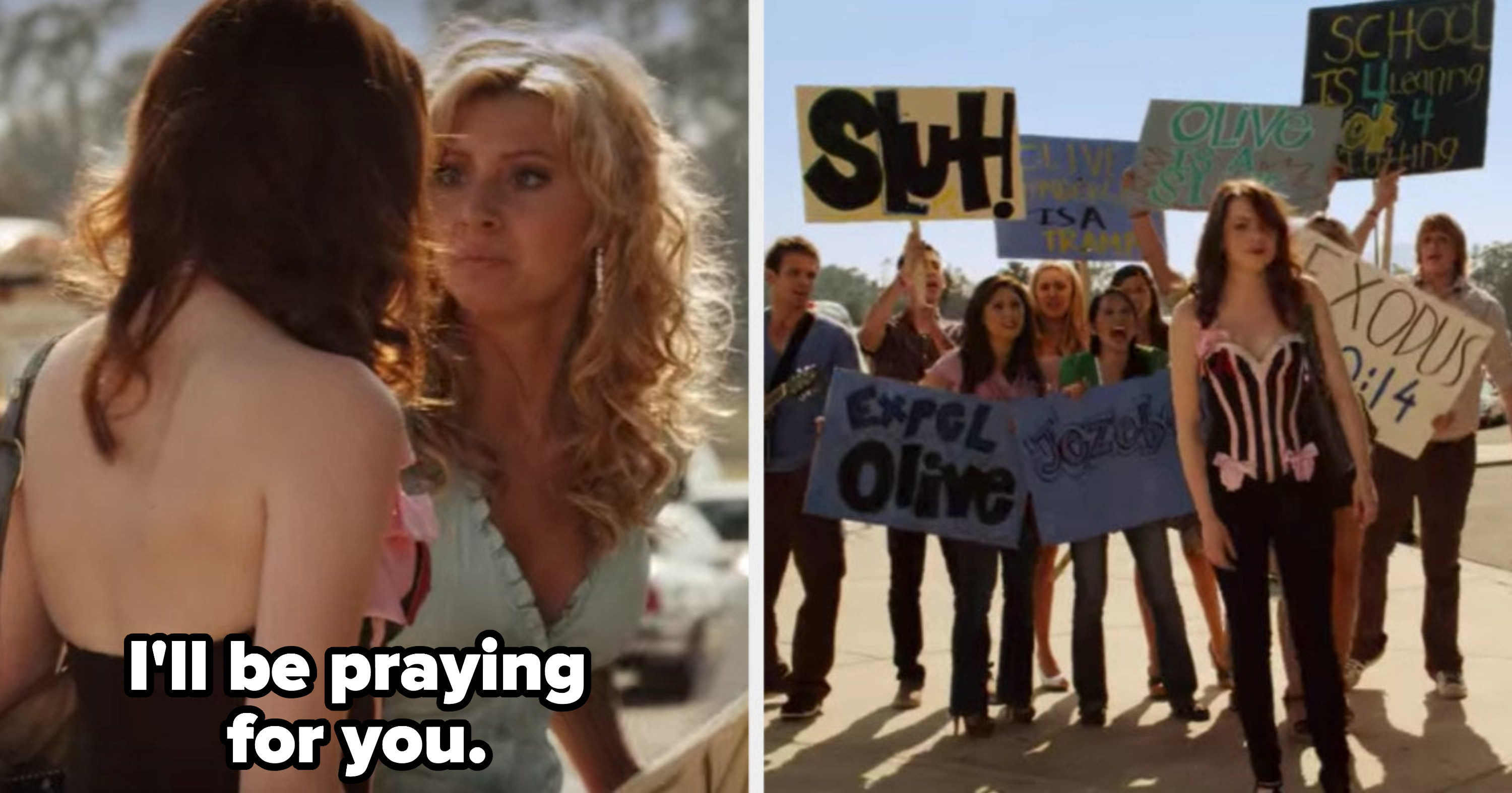"""Rhiannon telling Olive she'll be praying for her while other religious students harass Olive with slut-shaming signs in """"Easy A"""""""