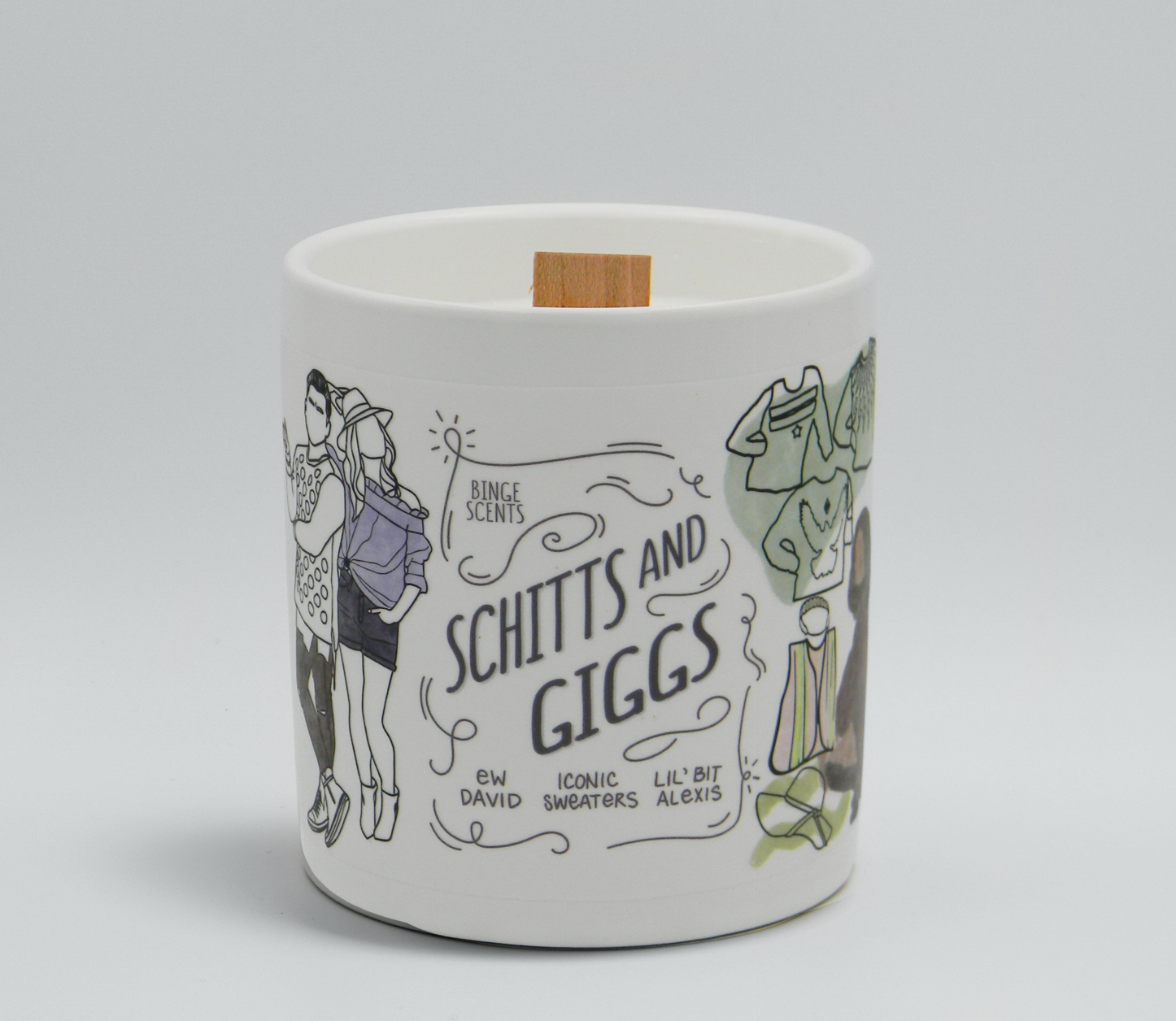 a white candle with an array of schitt's creek themed illustrations on it