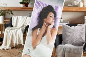 A fuzzy blanket draped over a chair, A person lying on a satin pillow, A small fuzzy pillow on a chair