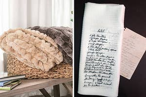 to the left: two plush blankets, to the right: a recipe transferred onto a cloth
