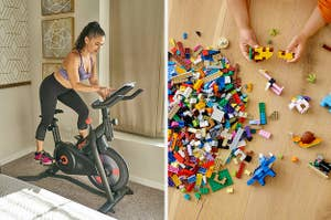 person on a exercise bike on the left and child playing with lego bricks on the right