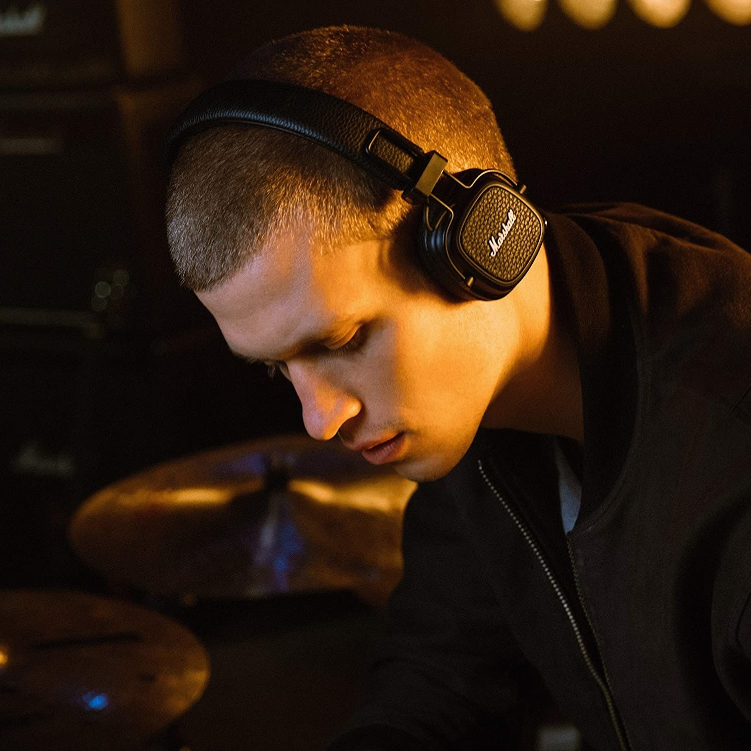 A person wearing the headphones