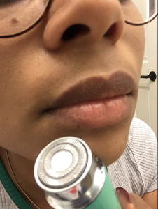 Reviewer close up showing shaved lip area