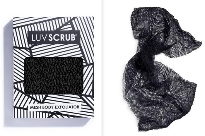 A black mesh exfoliating cloth