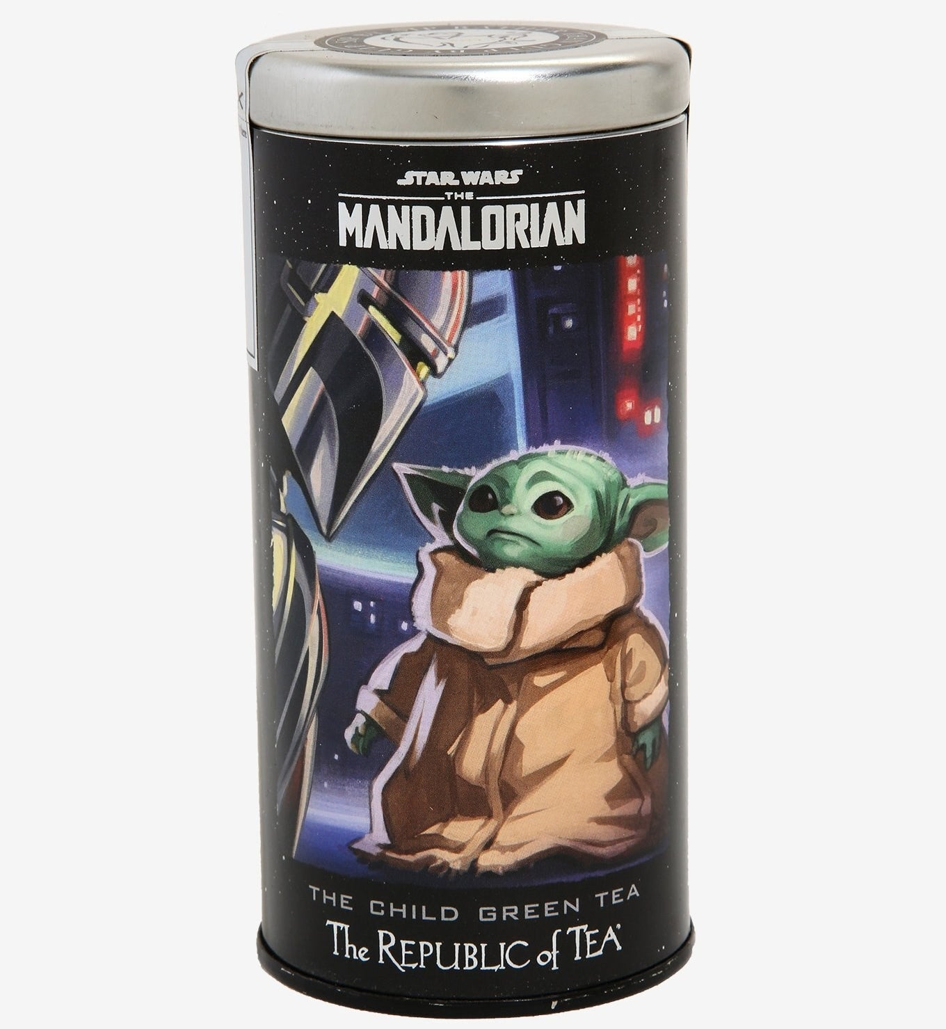 Tin with round tea bags and baby Yoda from The Mandalorian on case