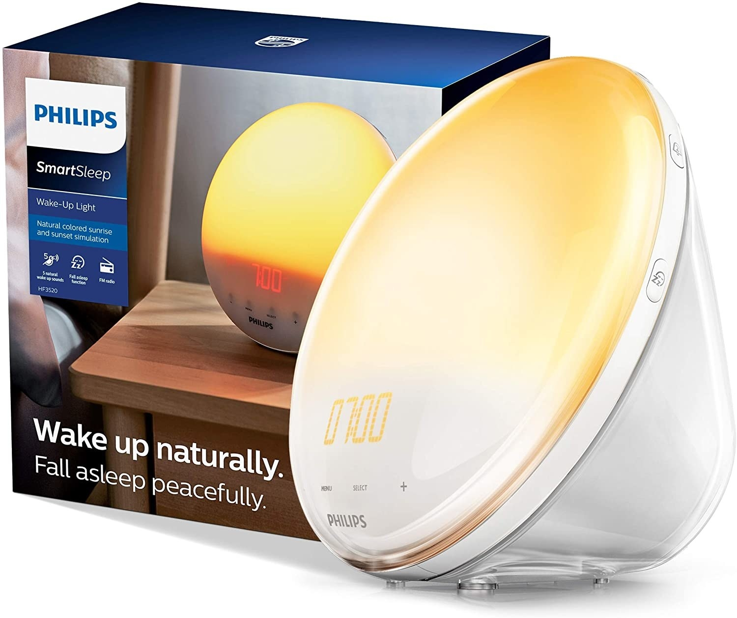 The wake up light (and its packaging) which has the time and menu, select, and + buttons