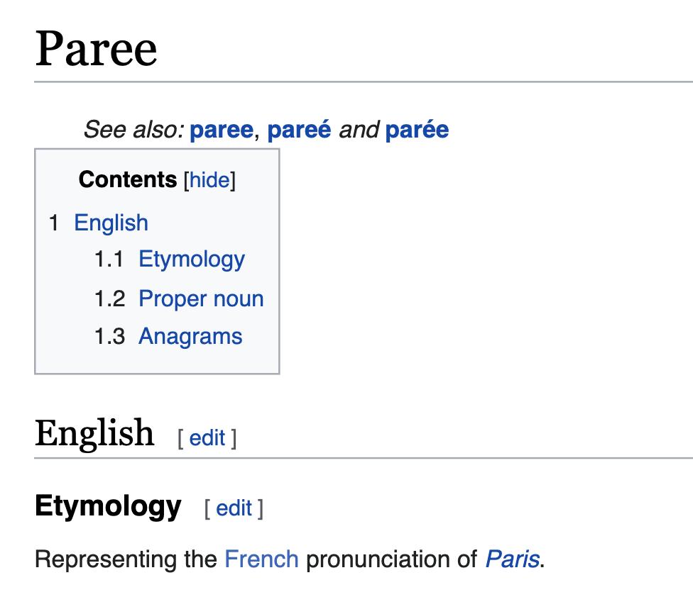 A Wikipedia entry describing how Paris is correctly pronounced