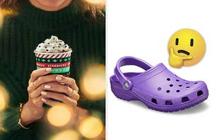 A woman is holding a drink on the left with a pair Crocs on the right with a think face emoji
