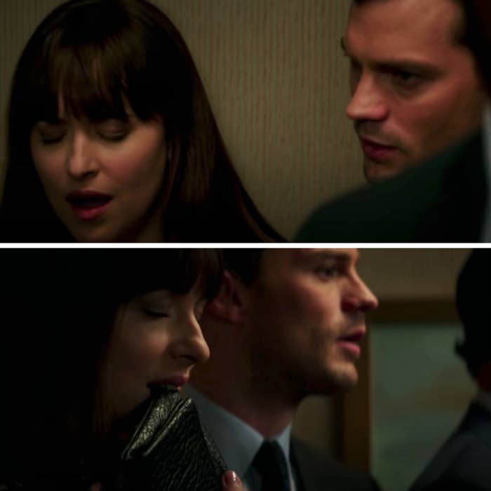 """Christian pleasuring Ana in the elevator in """"50 Shades of Gray"""""""