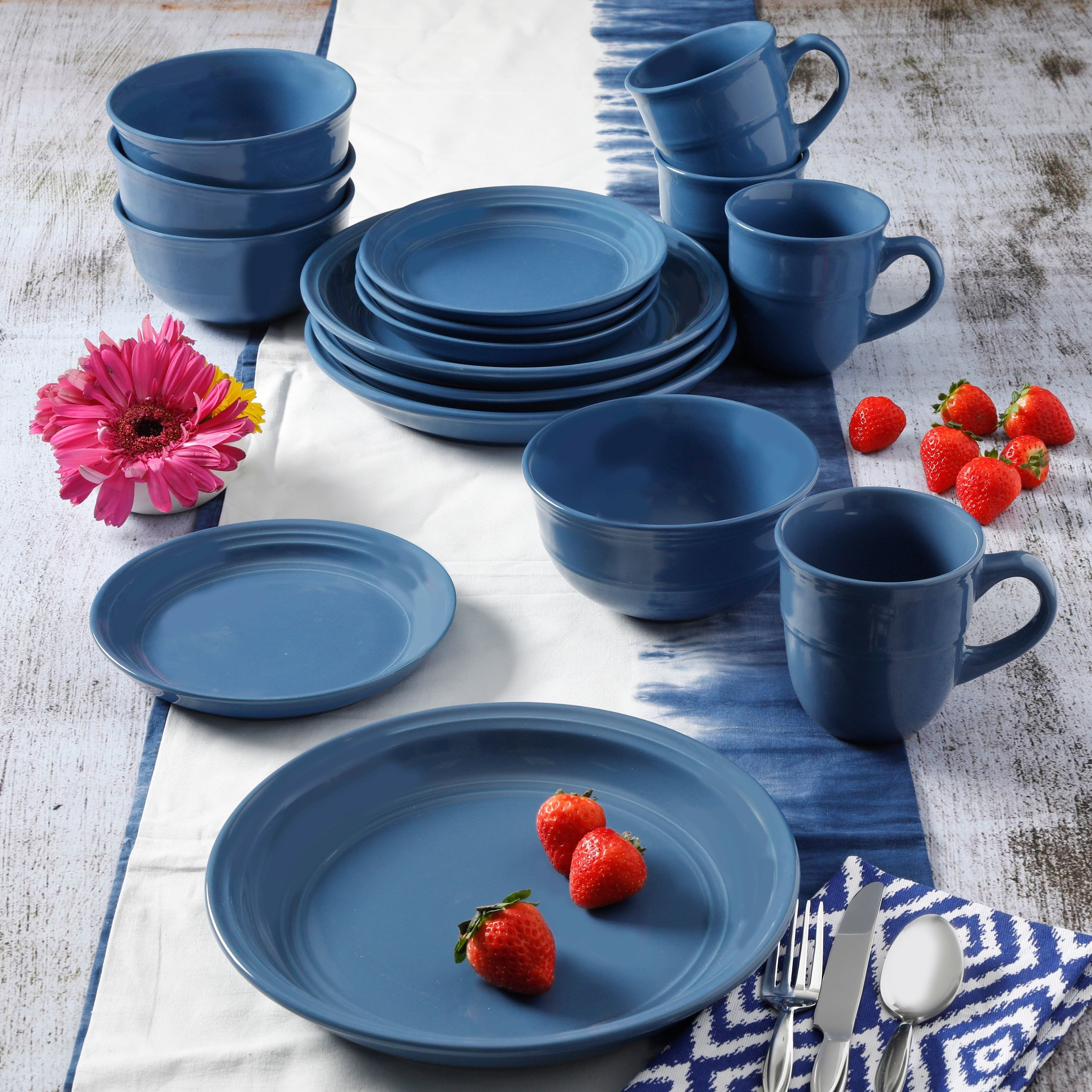 The dinnerware set in the color cobalt