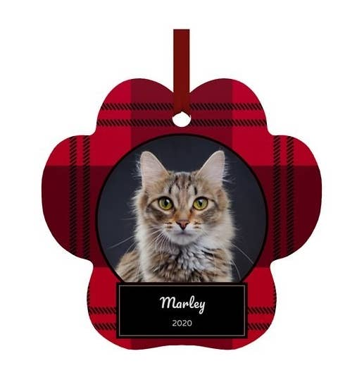 """Paw-shaped plaid ornament with a cat picture that says """"Marley 2020"""" on the front"""