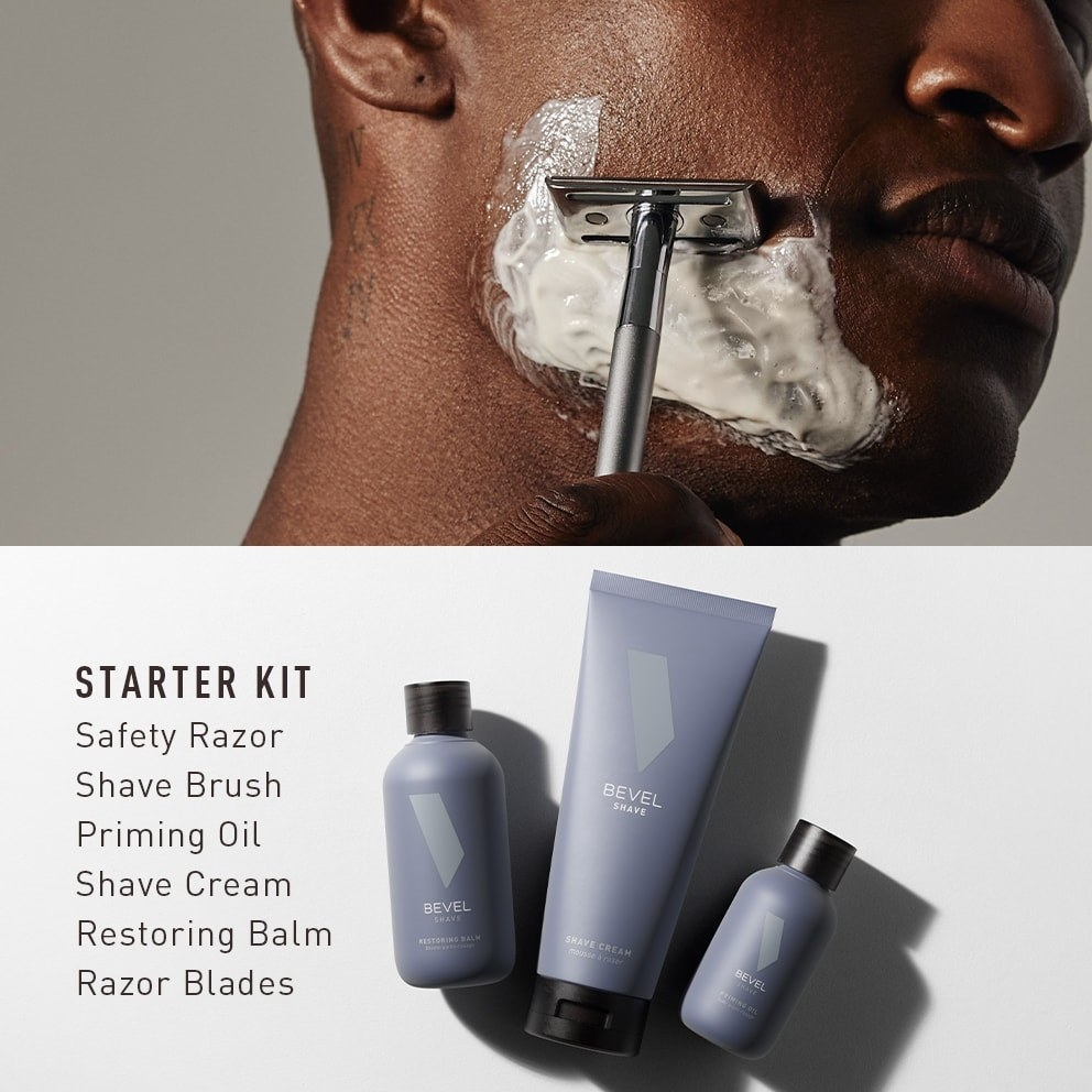A model shaving with the razor, and the contents of the starter kit