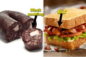 Black pudding and a BLT on a napkin.