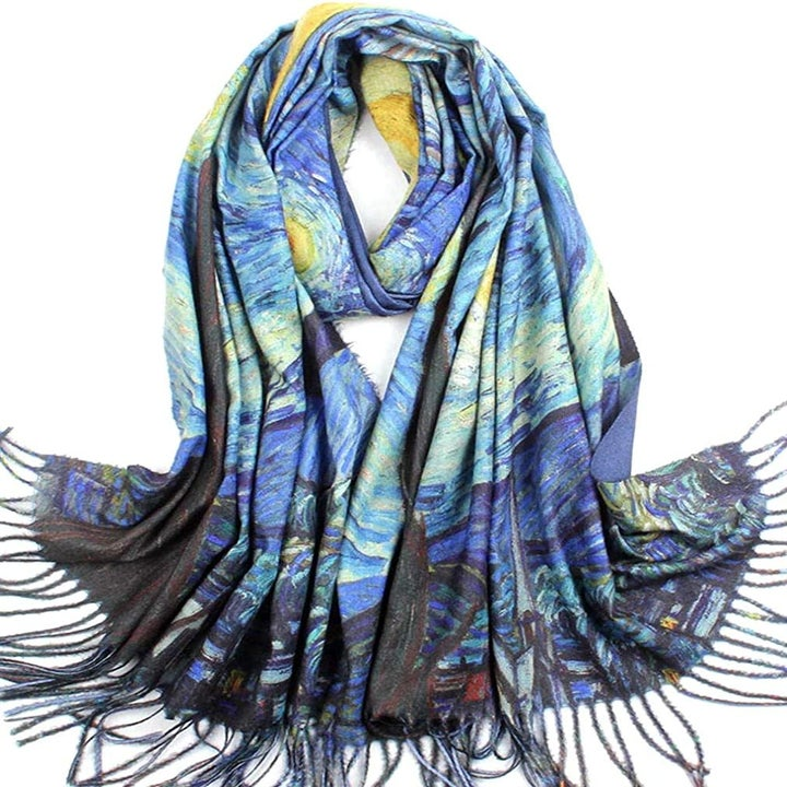 The long fringed scarf in the Starry Night print