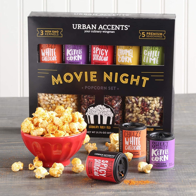 Popcorn kernels and seasoning in packaging