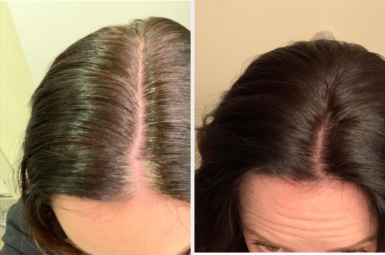 Reviewer showing gray roots in hair and same reviewer showing touched up roots that match their dark brown hair