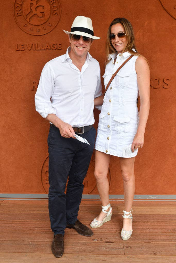 Hugh Grant and his wife Anna Eberstein at the 2018 French Open
