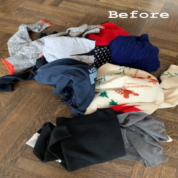 """A photo of a pile of sweaters with a caption that reads """"Before"""""""