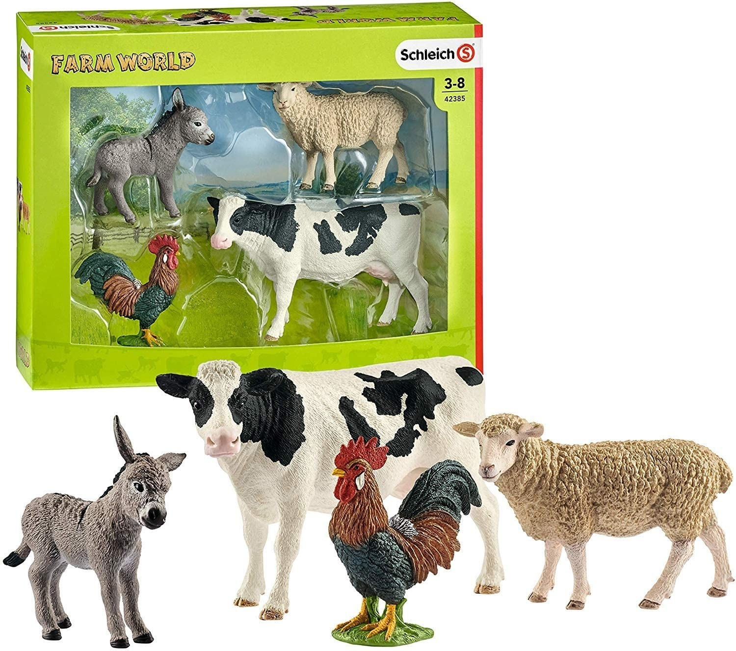 Children's toy figures of a donkey, cow, rooster, and sheep