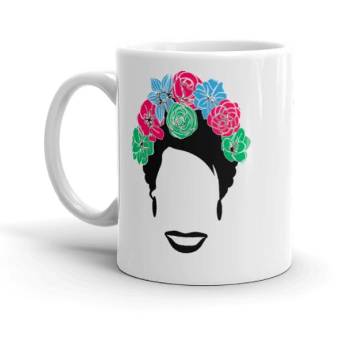 a mug with Marsha P. Johnson's silhouette
