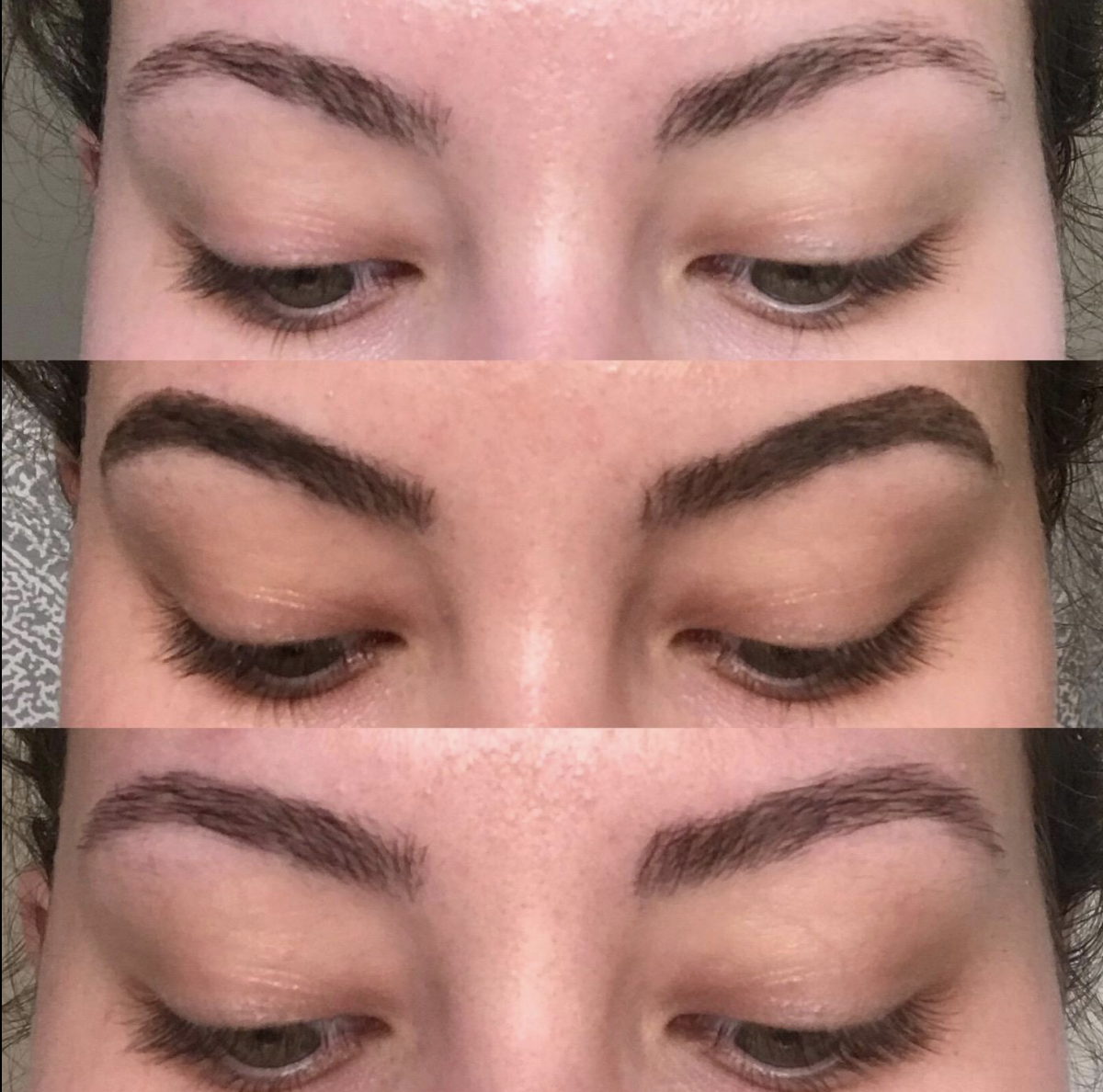 Reviewer's brows before the tint, during the tint, and after, to show the subtly more filled in, darker effect