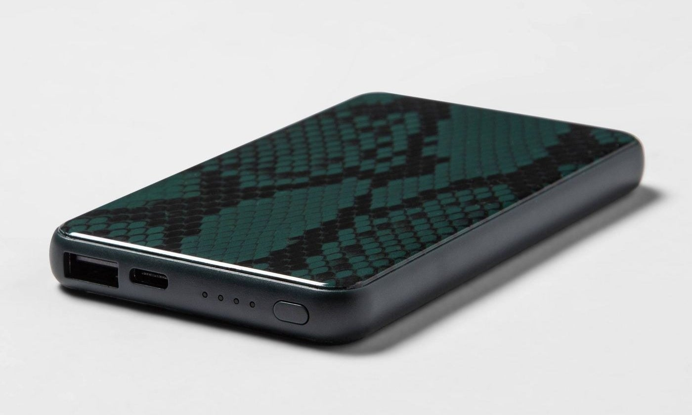 green snakeskin portable powerbank with black edges