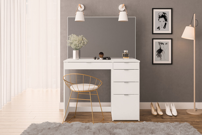 Modern white vanity set up