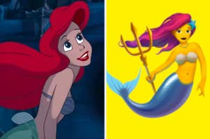 Ariel is swimming on the left with a mermaid emoji on the right