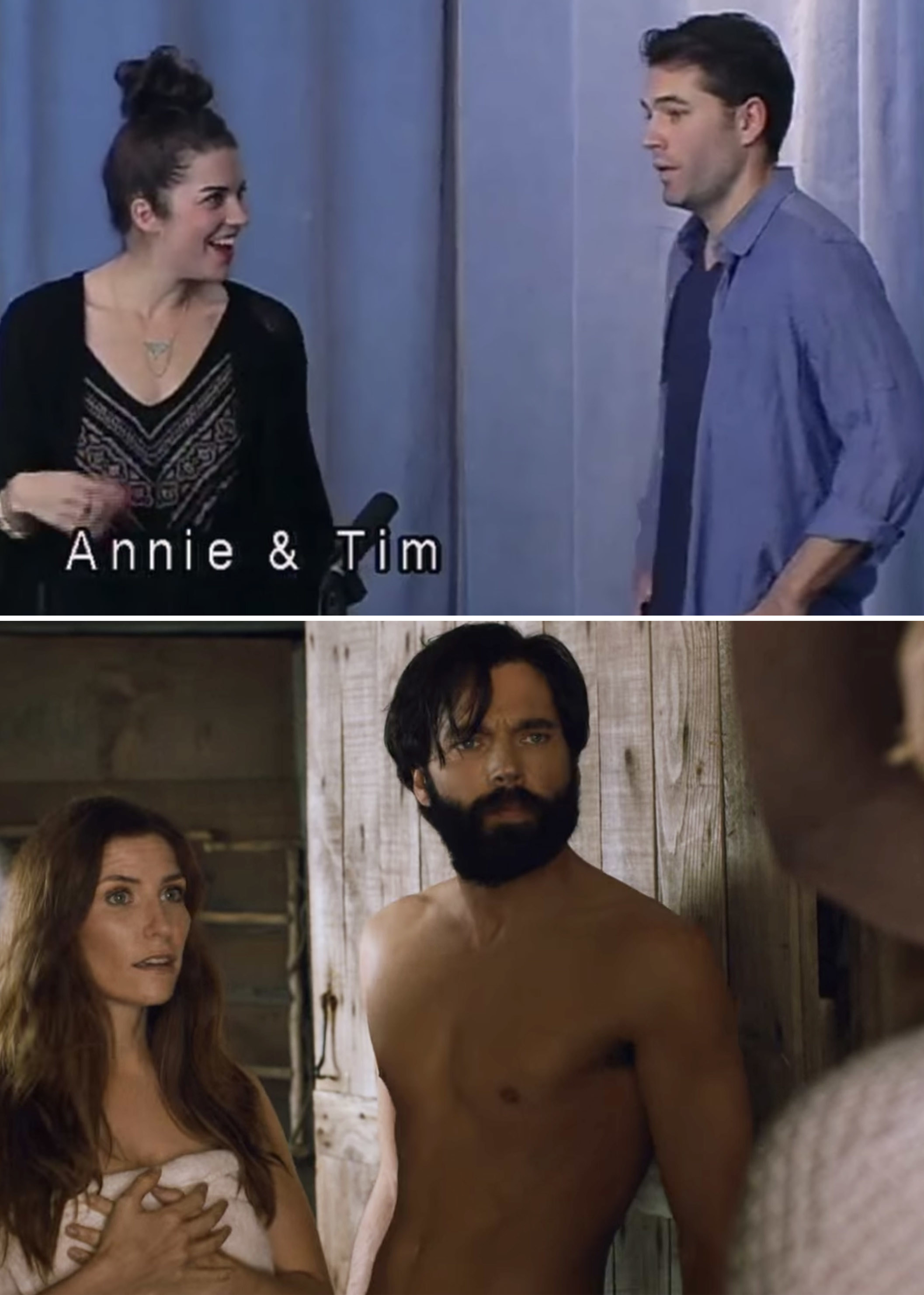 Annie and Tim in their audition vs. Twyla, Mutt, and Alexis in the actual scene