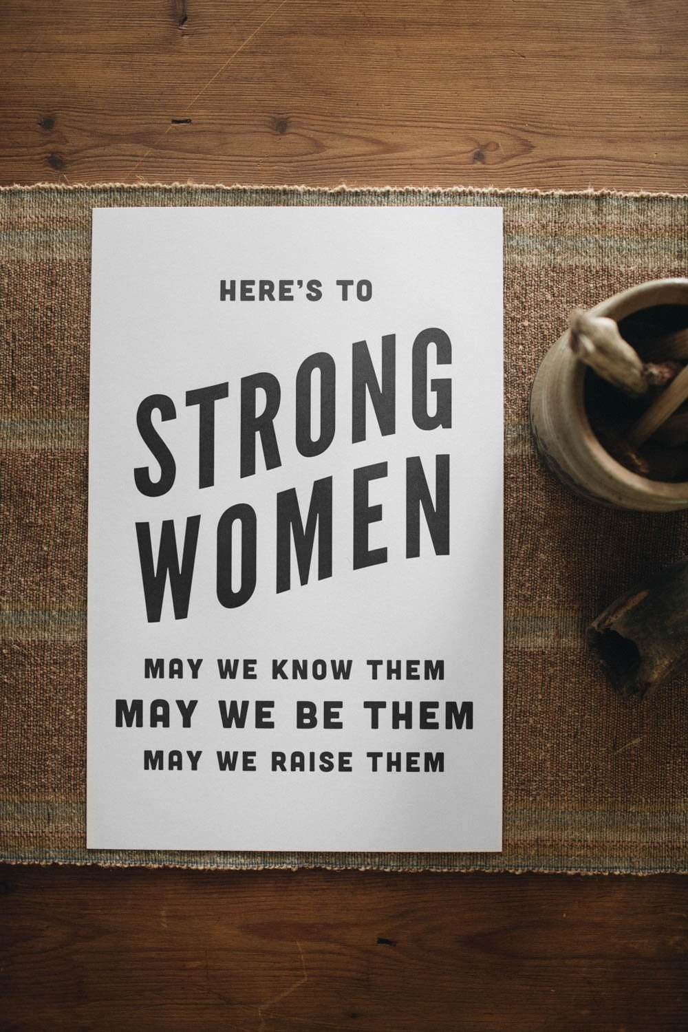 Letterpress: Here's to Strong Women black print
