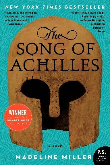 The Song of Achilles book cover with an ancient Greek style helmet