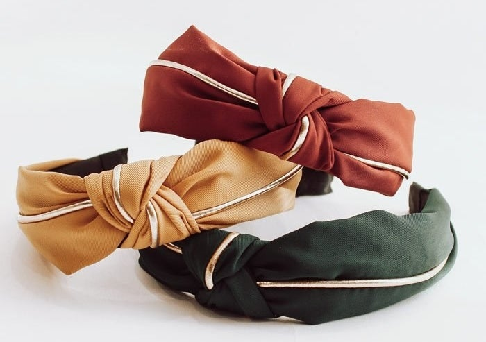 Warm tone fabric gold knotted headband bundle