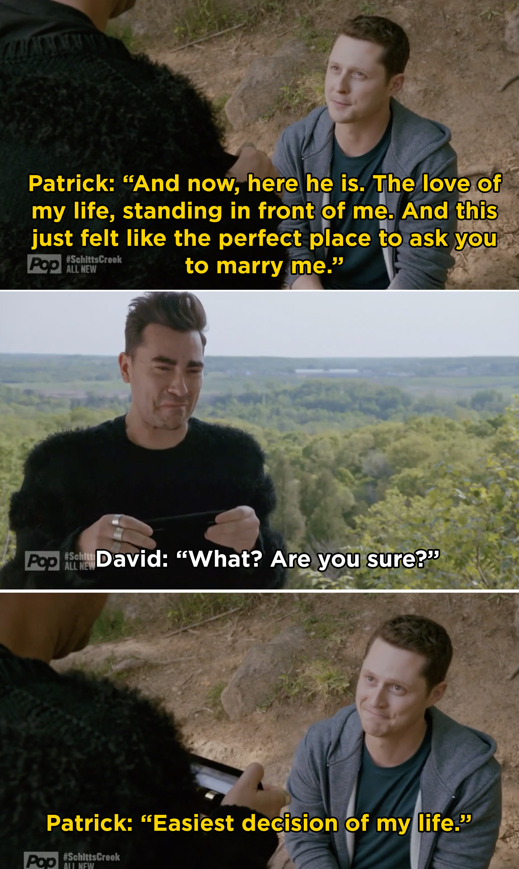 Patrick proposing to David and saying it was the easiest decision of his life