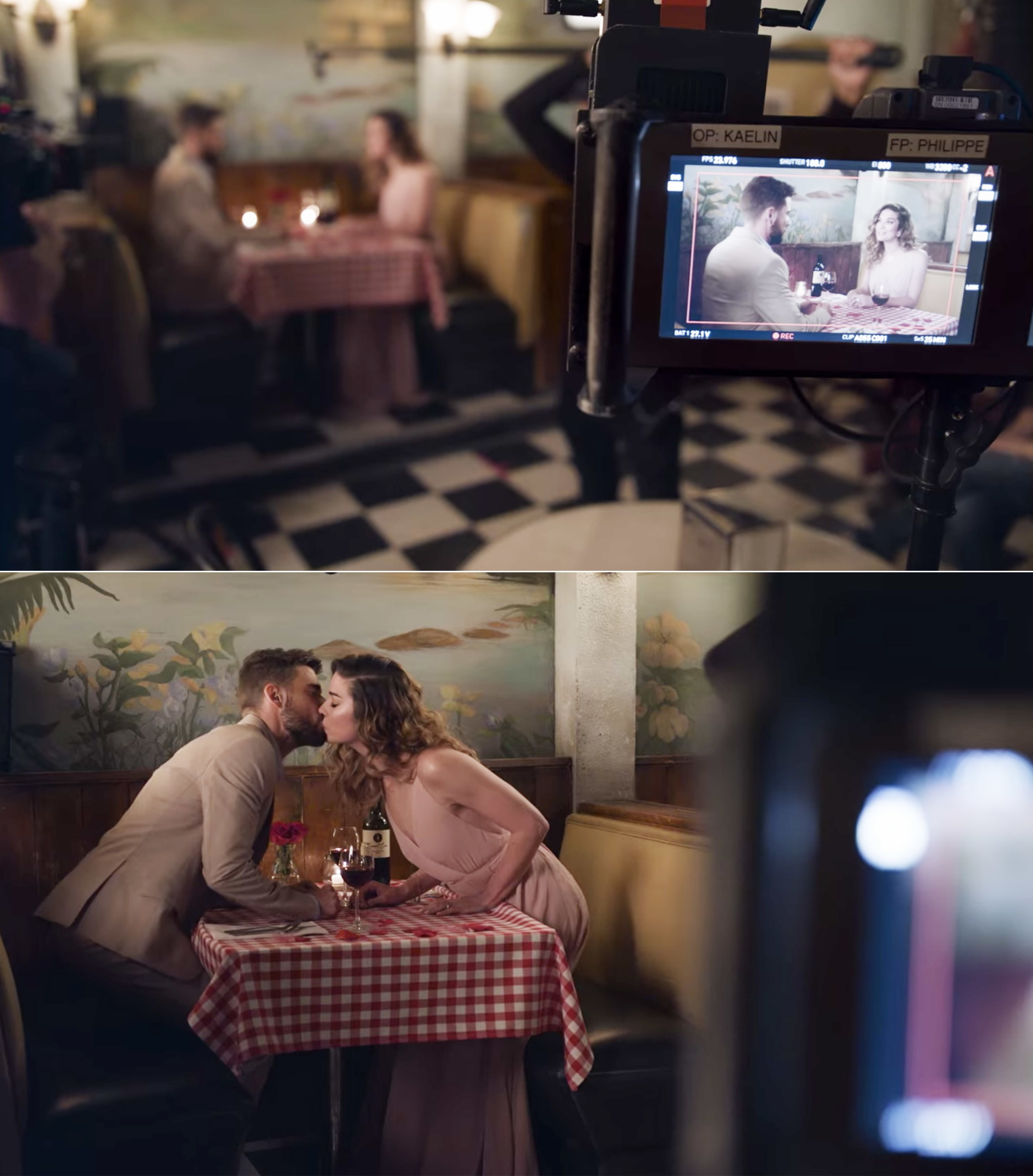 Annie Murphy and Dustin Milligan filming Alexis and Ted's breakup
