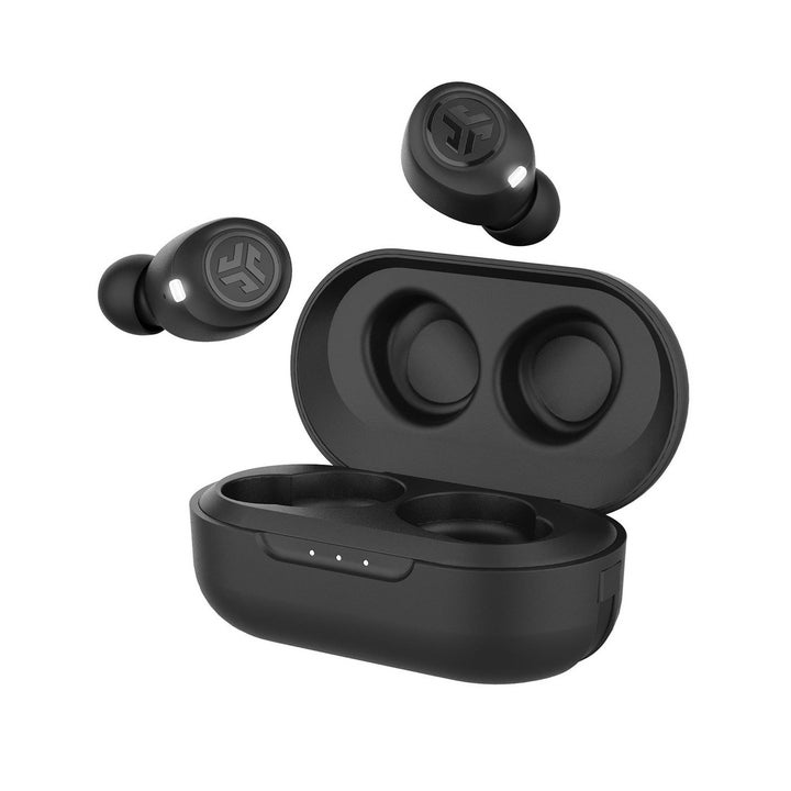 two black earbuds floating above a black case