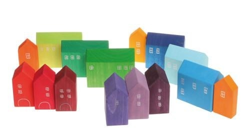 A set of brightly colored blocks that look like tiny houses