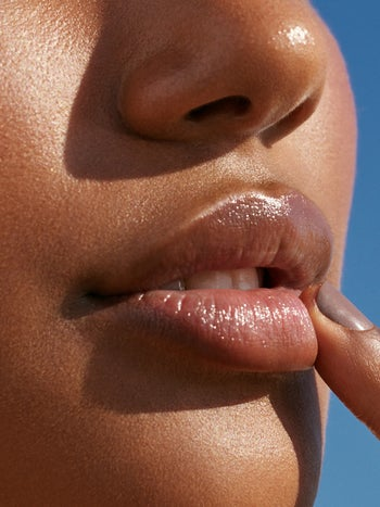 Close-up of model's lips that show them hydrated