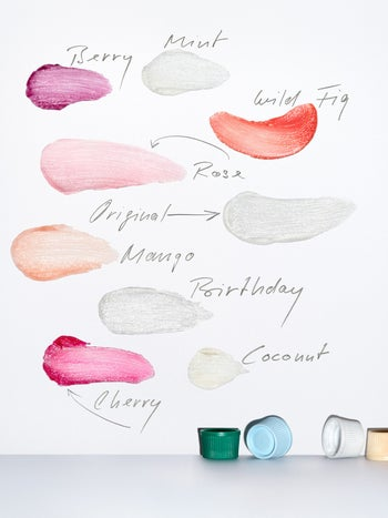 The different shades swatched out on a white background