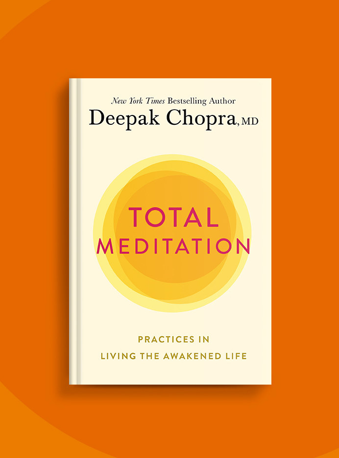 A copy of Total Meditation on a bright orange background