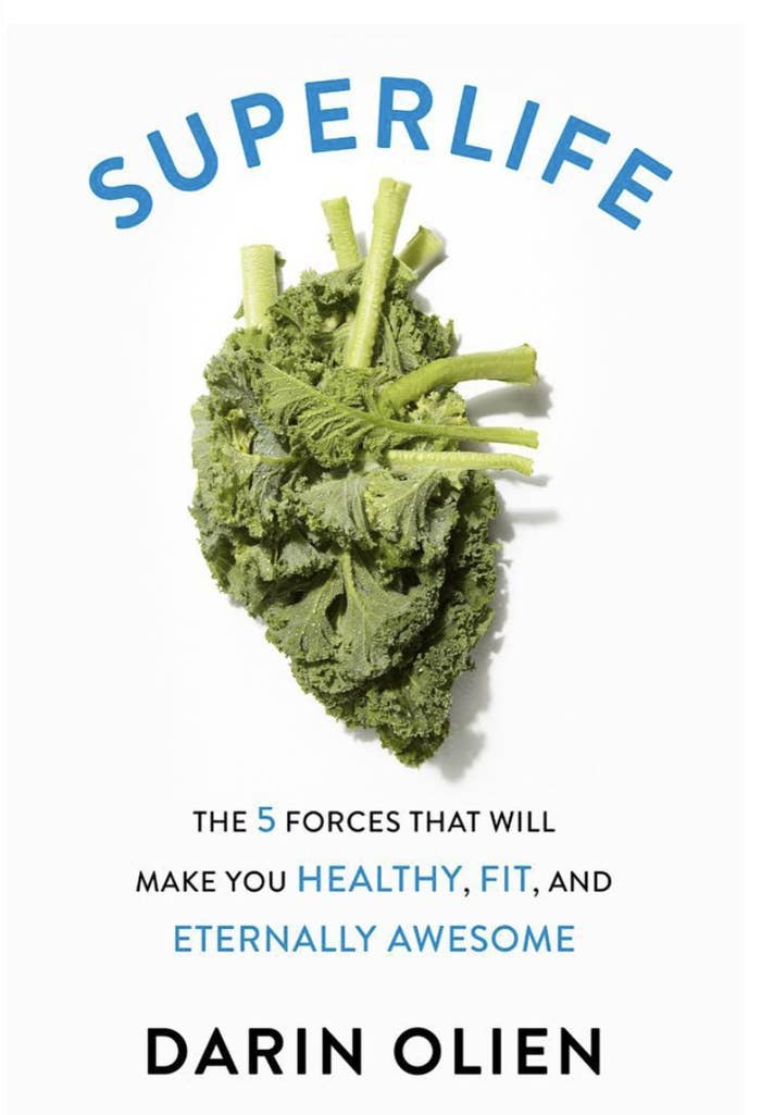 The cover of SuperLife that has a piece of kale and the text the five forces that will make you healthy, fit, and eternally awesome