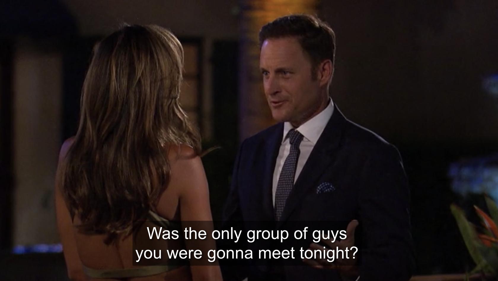 Chris Harrison telling Tayshia she's getting more men