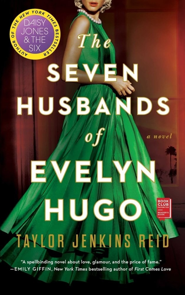 The book cover showing  someone in a green dress