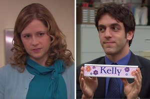 """Split Image: Pam Beesly on the left and Ryan Howard on the right holding a nameplate that says """"kelly"""""""