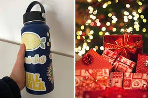 On the left, a Hydro Flask, and on the right, a pile of presents