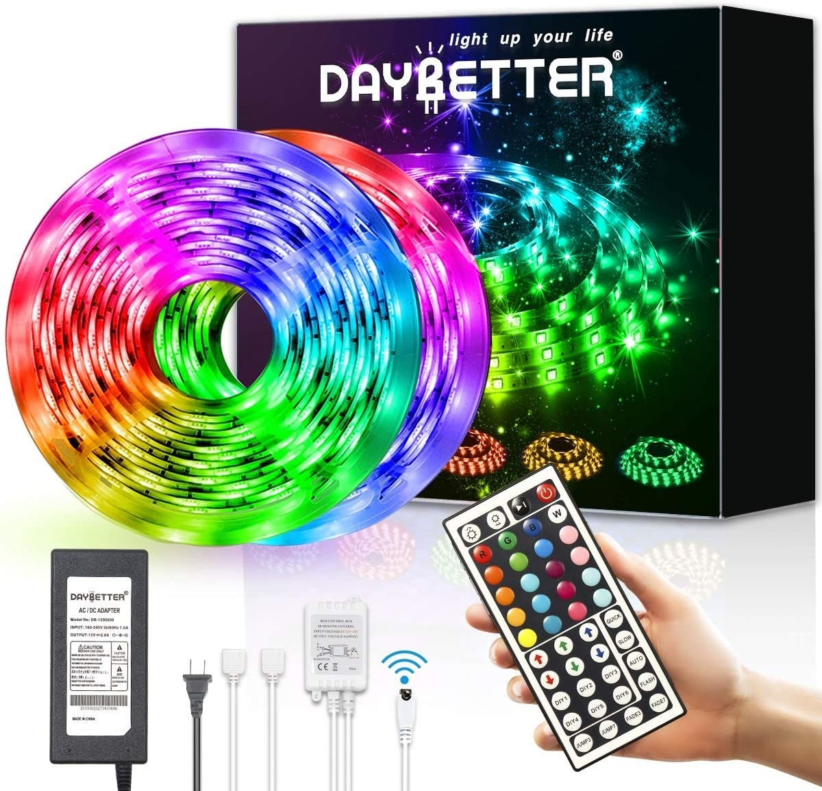 Two LED light strips in front of box with remote and various plugs
