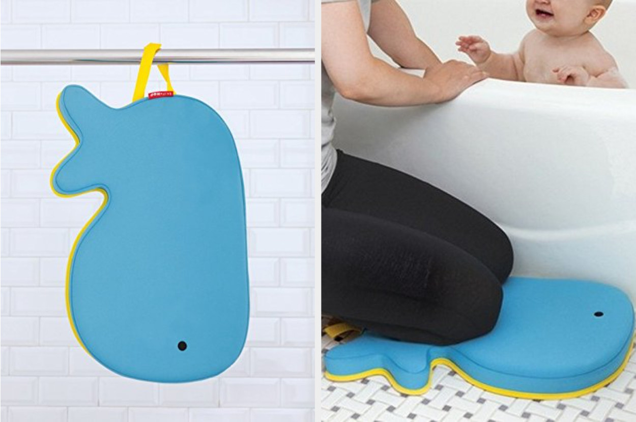 A dual image of a blue whale kneeler hanging from the shower next to a model kneeling on the whale while tending to a child in the tub