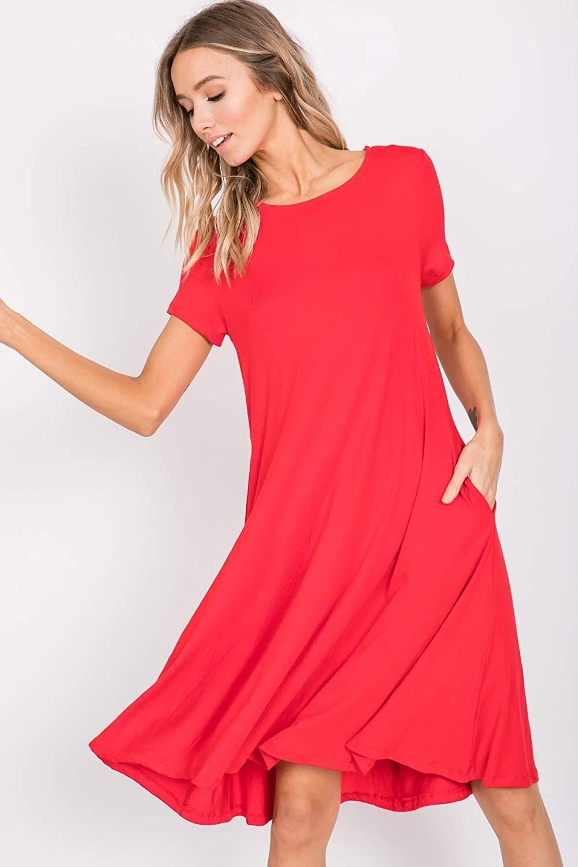 Model wearing red dress