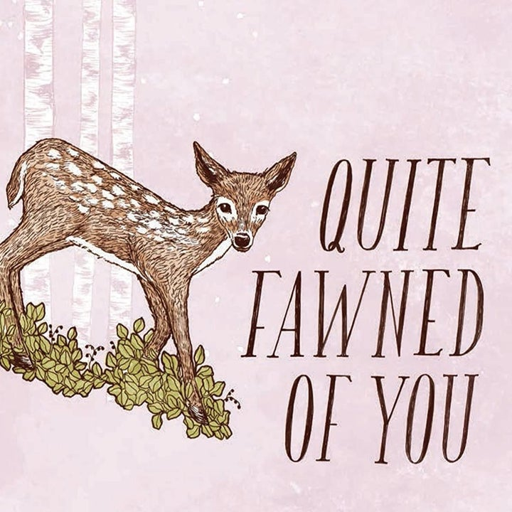 """one of the postcards that says """"quite fawned of you"""" with a picture of a deer"""
